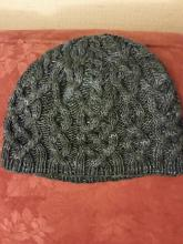 Blue-black knitted cabled hat